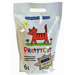 """Pretty Cat наполнитель """"Wood granules"""" для кошачьих туалетов, древесный, 6 л"""