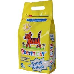 """Pretty Cat наполнитель """"Супер белый"""" для кошачьих туалетов, бентонитовый, комкующийся, 5 кг"""