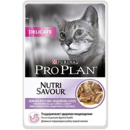 "Pro Plan корм""Delicate"" для кошек, индейка, в соусе, 85 г"