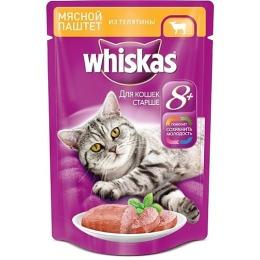 Whiskas паштет мясной, для кошек старе 8 лет, телятина, 85 г