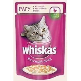 Whiskas рагу для кошек, курица, в кремовом соусе, 100 г