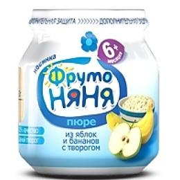 """Фруто Няня пюре """"Яблоко и банан с творогом"""" с 6 месяцев, 100 г"""