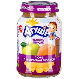 """Агуша пюре """"Яблоко и персик"""" с кусочками фруктов, 190 г"""