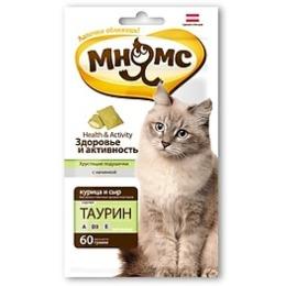 """Мнямс подушечки """"Здоровье и активность"""" для кошек, хрустящие, с курицей и сыром, 60 г"""