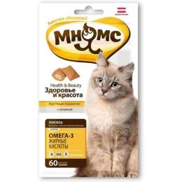 """Мнямс подушечки """"Здоровье и красота"""" для кошек, хрустящие, с лососем, 60 г"""