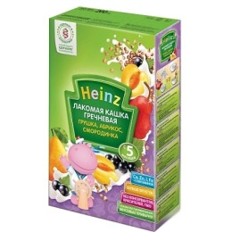 "Heinz кашка молочная ""Гречневая. Грушка, абрикос, смородинка"" с 5 месяцев 200 г"