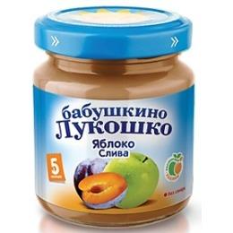 """Бабушкино Лукошко пюре """"Яблоко и слива"""" с 5 месяцев, 100 г"""