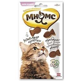 Мнямс лакомые кусочки для кошек, в форме рыбок, со вкусом лосося, 35 г