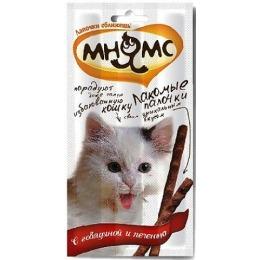 Мнямс лакомые палочки для кошек, с говядиной и печенью, 13.5 см, 5 г, 3 шт