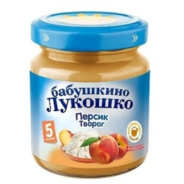 """Бабушкино Лукошко пюре """"Персик с творогом"""" с 5 месяцев, 100 г"""