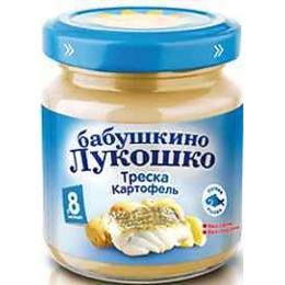 """Бабушкино Лукошко пюре """"Треска и картофель"""" с 8 месяцев, 100 г"""