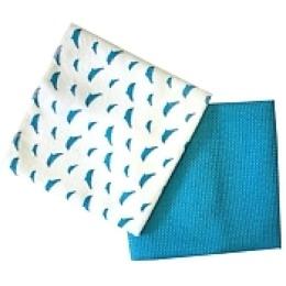"Rainbow Home набор ""Дельфин"": полотенце 50х50 см + салфетка 35х35 см, синий"