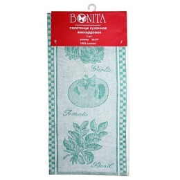 "Bonita полотенце ""Помидор, базилик, чеснок"" жаккард, зеленый, 50х70 см"