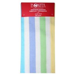 """Bonita полотенце """"Фиеста 2"""" вафельно-жаккардовое, зеленое и синее, 45х70 см"""