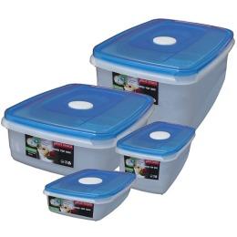 """Plast Team набор емкостей """"Micro top box"""" для СВЧ, голубые прозрачные, 4 шт"""