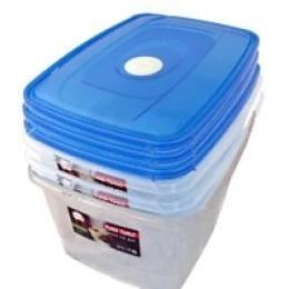"""Plast Team набор емкостей """"Micro top box"""" для СВЧ, с ручкой для переноски, прозрачные, 1.3 л - 2 шт, 2.3 л"""