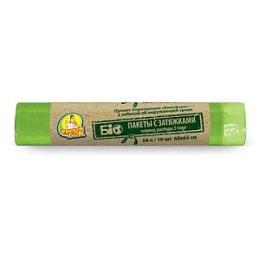 """Фрекен Бок пакеты """"Био"""" для мусора, с затяжкой, зеленые, 60 литров, 10 шт"""