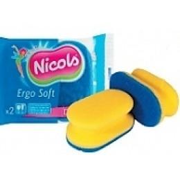 """Nicols губка """"Ergo Soft"""" кухонная, профилированая, синяя, 2 шт"""
