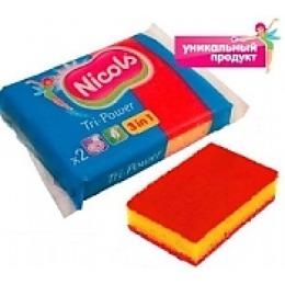 """Nicols губка """"Tri-power"""" кухонная, трехслойная, для сильнозагрязненных поверхностей, красная, 2 шт"""