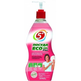 """5+ гель для мытья посуды """"Eco Plus. Лимон и Клементин"""", 775 мл"""