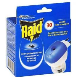 """Raid фумигатор + жидкость от комаров """"30 ночей"""" + жидкость от комаров """"30 ночей"""""""