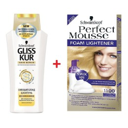 Perfect Mousse набор 1100 Средний осветлитель + шампунь GLISS KUR Сияющий блонд, 35 мл + 250 мл