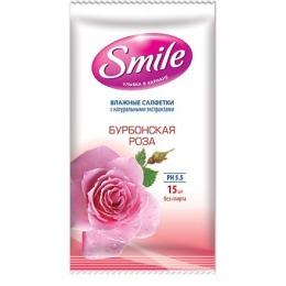 """Smile влажные салфетки """"Бурбонская роза"""", 15 шт"""