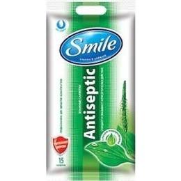 """Smile влажные салфетки """"Antiseptic"""" с соком подорожника, 15 шт"""