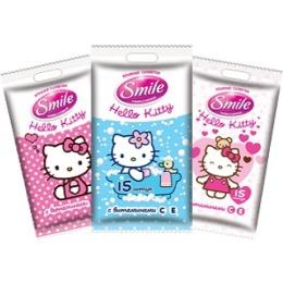 """Smile влажные салфетки """"Hello Kitty mix"""", 15 шт"""