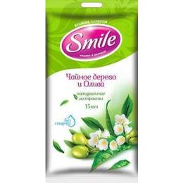 """Smile влажные салфетки """"Чайное дерево и олива"""", 20 шт"""