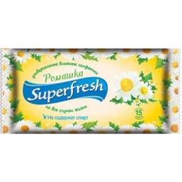 """Superfresh влажные салфетки """"Ромашка"""", 15 шт"""