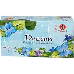 """Maneki салфетки бумажные """"Dream"""" двухслойные, тон белые, 200 шт"""