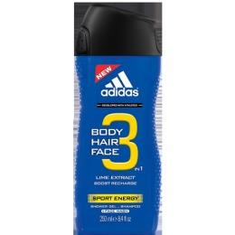 """Adidas гель для душа, шампунь и гель для умывания """"Sport Energy"""" для мужчин, 250 мл"""