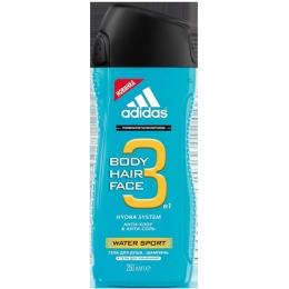 """Adidas гель для душа, шампунь и гель для умывания """"Water Sport"""" для мужчин, 250 мл"""