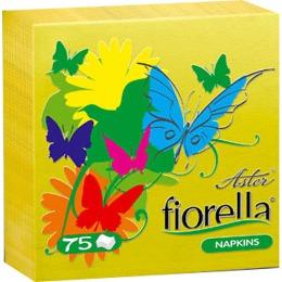 "Aster салфетки ""Fiorella"" 240х240 мм. однослойные, тон желтые, 75 шт"