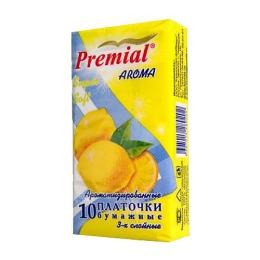 Premial платочки бумажные с ароматом лимона, 10 шт