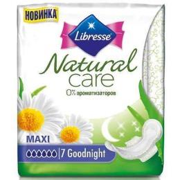 "Libresse прокладки ""Natural Care Goodnight"" гигиенические, 7 + 3 шт"