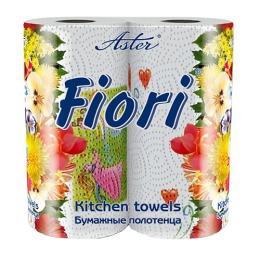 """Aster бумажные полотенца """"Fiori"""" 2 слойные, тон с рисунком, 2 рулона"""