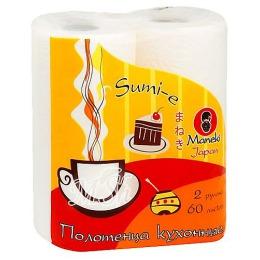 Maneki полотенца кухонные бумажные dream 2 слоя 2 рулона/упаковка 60 л. белые с рисунком