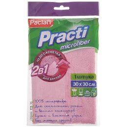 """Paclan салфетки """"Micro"""" 330x330 мм для ванной 2 в 1, тон розовые, 1 шт"""