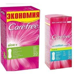 "Carefree прокладки ""Aloe"" ежедневные, 32 шт + прокладки  ""With cotton extract fresh"" ежедневные, 20 шт"
