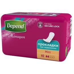 "Depend Прокладки при недержании ""Mini"" женские, 10 шт"