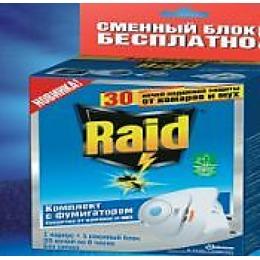 Raid электродиффузор против мух и комаров + сменный блок  30 ночей