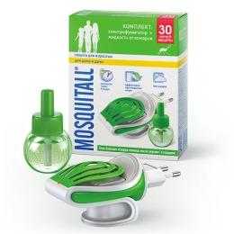"""Mosquitall комплект """"Защита для взрослых"""": электрофумигатор + жидкость 30 ночей от комаров 30 мл + гель-бальзам скорая помощь после укус"""
