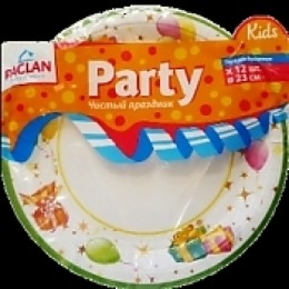 "Paclan тарелка  бумаж с рисунком ""Party  kids"" 170 мл 12 шт уп"