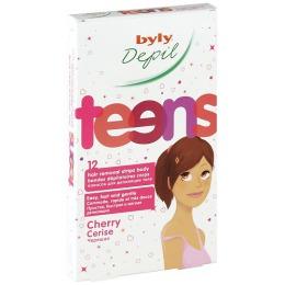 """Byly восковые полоски для депиляции тела """"Teens"""" для молодых девушек, с черешней, 12 шт"""