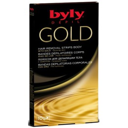 """Byly восковые полоски для депиляции тела """"Gold Сияющая кожа"""" с золотом, 10 шт"""