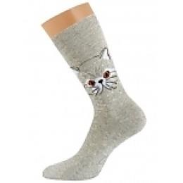 "Griff носки женские ""Кот d0с3"" светло-серые"