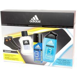 """Adidas набор мужской """"Skin Protection Ice Effect"""" бальзам после бритья + дезодорант-антиперспирант спрей + гель для душа + носки, 100 + 150 + 250 мл"""
