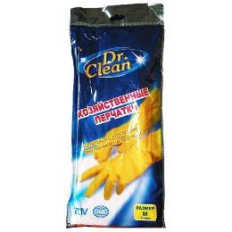 Dr.Clean хозяйственные перчатки резиновые, размер M, тон желтые, 1 пара